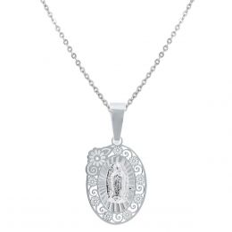 53e94e054d4 Cadena Con Dije Virgen De Guadalupe De Plata Villalpando · Medalla Sini San  Benito Relieve Circonias (14k)