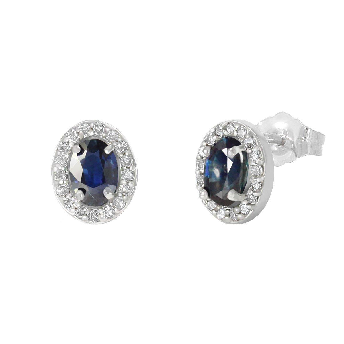 67630742f0b8 Broqueles Oro 14 K Blanco con Zafiro Oval Diamantes Nadav