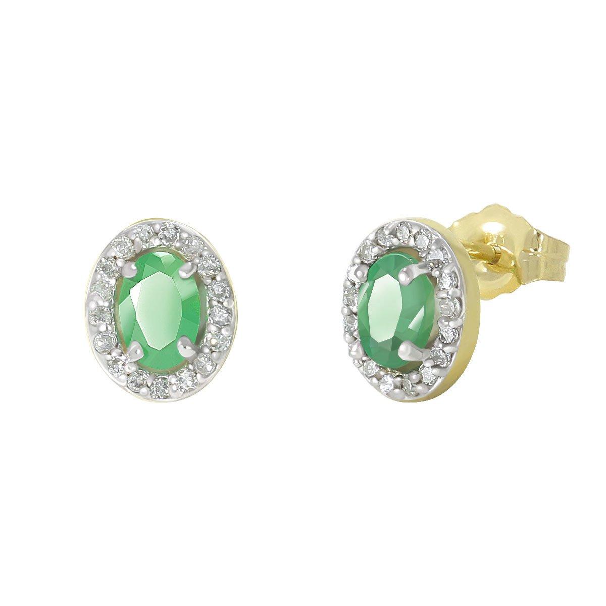 98520df043cd Broqueles Oro 14 K Amarillo con 0.50 Ct. Esmeralda Oval y 0.17 Ct.  Diamantes Gn Sestie-3Y