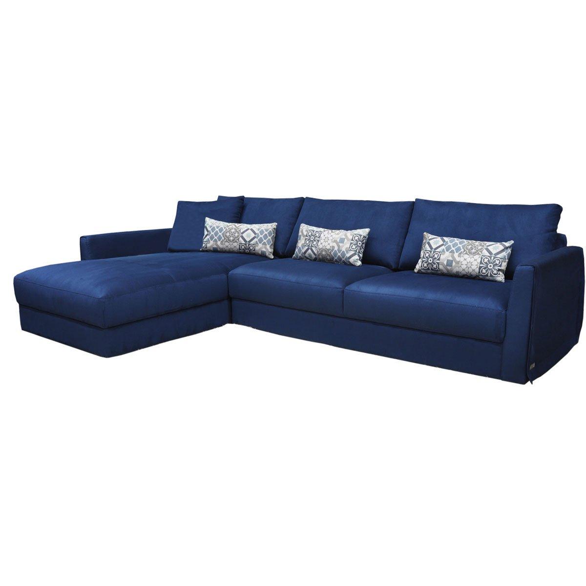 Sala Modular Sienna Izquierda Tela Azul Muebles Liz