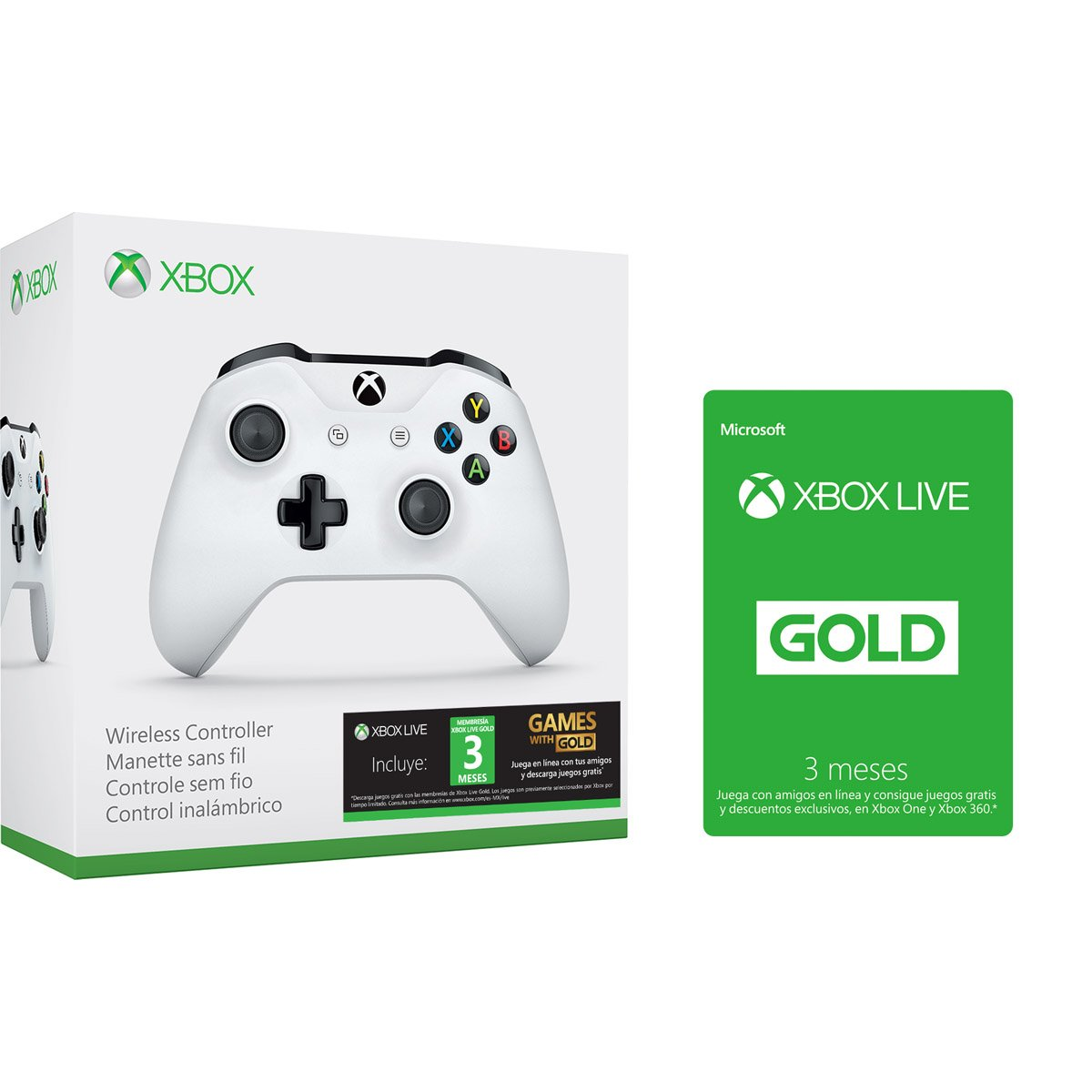 Xbox Control Inalambrico Blanco Tarjeta Xbox Live Gold 3m Sears